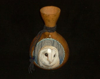 Hand Painted Gourd- Barn Owl Totem