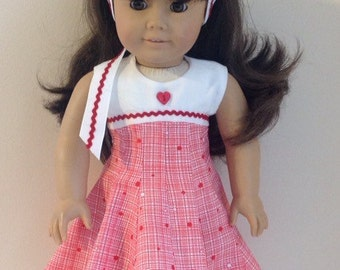 American Girl Doll Clothes 18 Inch Doll Clothes American Girl Doll Dress American Girl Clothes  Red White Dress Hair Ribbon