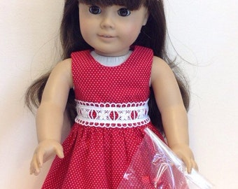 American Girl Doll Clothes 18 Inch Doll Clothes American Girl Doll Dress Ameerican Girl Clothes Red Polka Dot Dress with Hair Clips