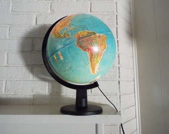 Vintage Rand McNally Light Up Globe   Featuring Sea Currents   Plug In