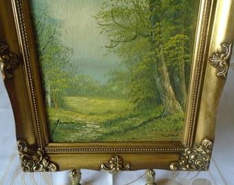 Trees theme oil on board ornate molded frame artist signed