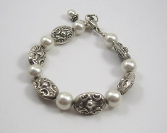 """Vintage .925 Sterling Silver Link and Faux Pearl Bracelet 6"""" Inches WOW TRENDY"""