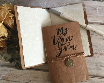 Handcrafted Wedding leather paper Vow books Bride and Groom set of 2 / infinity charm and braid / wedding vow books / wedding details / wedd