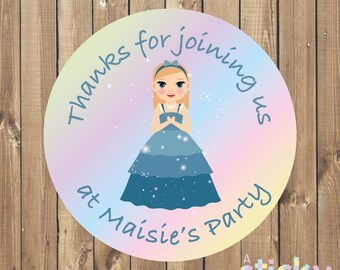 Personalized Birthday Party Stickers, Birthday Party Labels, Birthday Party Tags, Christening Stickers, Princess Stickers, Party Favours