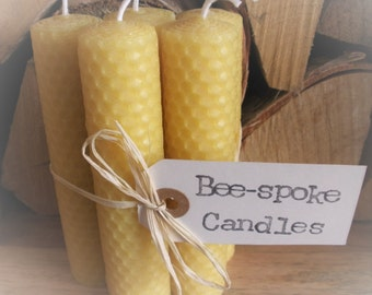 5 x Pure Beeswax Candles, Handmade, Beautifully Packaged, Size Options