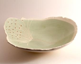 Dandelion Wish ceramic bowl, raw edge, white clay and mint green underglaze, handmade serving bowl.