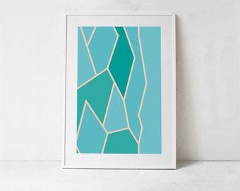 Turquoise Blue Geometric Print, Turquoise Art, Geometric Printable Art, Turquoise Decor, Large Wall Art, Blue Art INSTANT DOWNLOAD Art 24x36