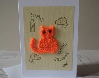 Ginger Cat Card, Cat Lover gift, Greetings Card, crazy cat lady, Crochet Card, Birthday Card Halloween card, Handmade Watercolour Blank Card