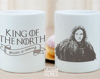 King of the North, Jon Snow mug, Game of Thrones mug, ASOIAF mug, game of thrones gift, winter is coming, the North remembers, King in North