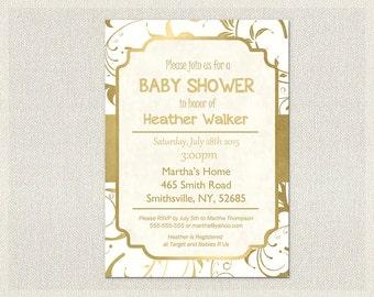 Baby shower invitation white and gold elegant gender neutral bridal shower invite boy girl printable custom personalized baby shower  BS-80