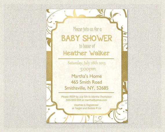 gold and white baby shower invitation printable gold and white gold