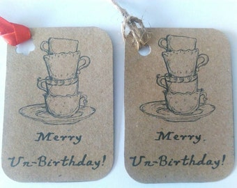 Merry un-birthday tags adaptable, Alice in wonderland, mad hatter tea party inspired
