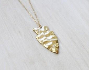Arrowhead Pendant Necklace, Boho Necklace, long necklace, Layering Necklace, Tribal Necklace