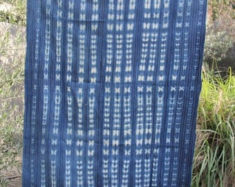 vintage african indigo mud cloth with gold metallic thread