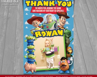 Toy Story thank you card - Disney Pixar Toy Story Birthday Greeting Printed or Printable Card with photo - Woody Buzz Lightyear Jessie Party