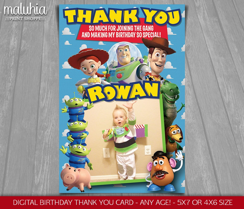 Toy Story thank you card Disney Pixar Toy Story card Toy – Buzz Lightyear Birthday Card