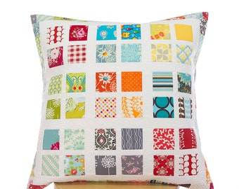 Decorative pillow cover, free motion quilted pillow cover 50in x 50in by Teresa Nogueira, patchwork pillow cover