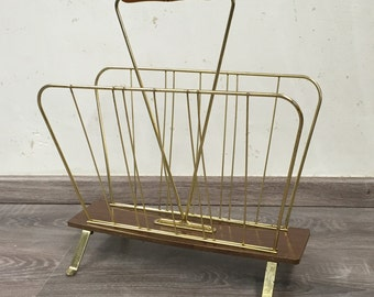 Magazine rack, magazine rack, vintage, 50s, brass