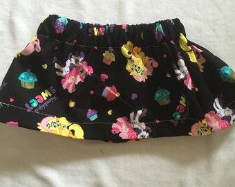 "Hand Made Baby Girls Skirt ""Black Pony"" print Size 1"