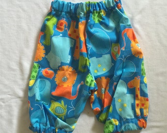 "Handmade Baby Boy Pants In ""Zoo"" Print 100% Cotton Size 000"