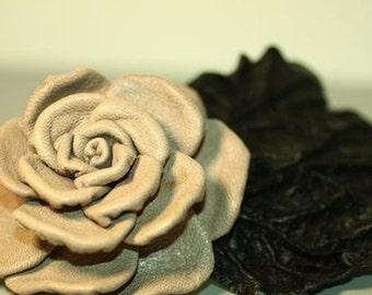 Handmade leather hair barrette  beige ivory rose flower