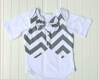 Boys Birthday waistcoat bowtie babygrow 1st baby one white grey suit gift