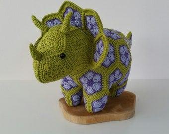 Crochet Triceratops dinosaur from african flowers (medium), African flower dino