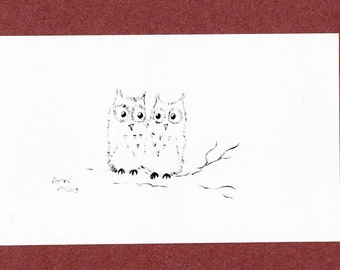 "Card gift ""Owls"", map cute for any event!"