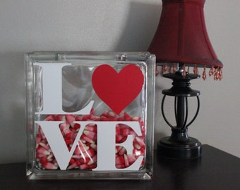 LOVE Valentines Glass Block Vinyl
