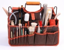 SALE-Artist's Tools Bag, Xiem Art Bag, Art Supplies Carrier, Ceramic Tools Tote, Pottery Tools Organizer, Clay Student Tools Transport,  XAB