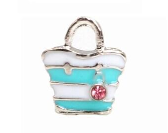 Beach Bag Floating Charm - Bag Floating Charm - Blue Bag - Floating Charm Living Locket - Memory Locket