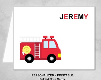 Personalized Printable Firetruck Fire Truck Engine Red Black Thank You Note Cards Children Kids Birthday Party Thank You Cards ~ DIY