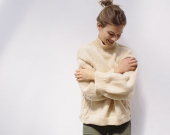 50% off-sale BEIGE OVERSIZED SWEATER - hand knitted chunky wool turtleneck sweater