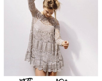 25% OFF SALE - crochet boho dress, hand knitted cotton crochet unique