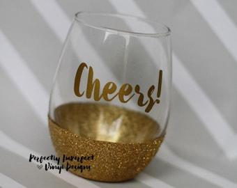Glitter Stemless Wine//Cheers Glitter Dipped Stemless Wine Glass//Glitter Dipped Wine Glass//Stemless Wine Glasses//Stemless Wine Tumbler