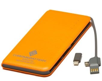 Chrome Battery Portable Charger and Powerbank 8000mAh with built in cords for iPhone and Droid