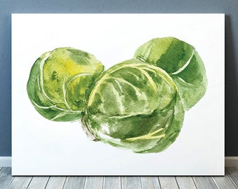 Sprouts art Watercolor print Kitchen print Vegetable poster