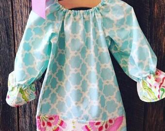 Baby Girl Peasant Dress - Baby Girl Easter Dress - Girls Easter Dress