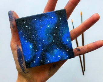 Canvas Magnet - Mini Painting with Easel - Galaxy Painting - Galaxy Decor - Handpainted Magnet