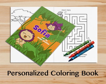 personalized jungle activity book a custom coloring book with your childs name kids coloring - Personalized Coloring Book