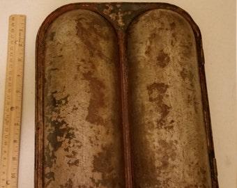 antique bread baking metal tin pan oven mold by ideal - vintage corn bread baking bales logs - kitchen home decor primitive