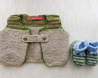 Set baby boy vest to wear and slippers