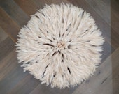 Juju Hat Large 73cm 29 inches White Traditional Authentic Bamileke Tribe 007