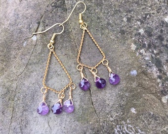 Amethyst and Gold Chandelier Earrings