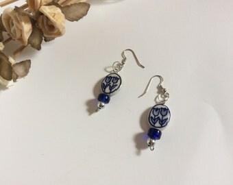Double Dutch blue flower earrings