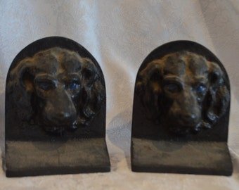 Pair Antique cast iron DOG bookends-Hubley