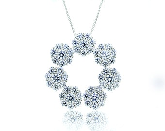 925 Sterling Silver Flower Shaped Necklace 2.73 CT.TW (S145)