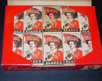 Vintage Razor Blades Full Carton of 100 New Don Juan Razor Blades - 1950's