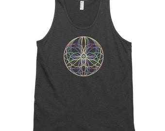 Flower Mandala Tank - 100% Ring-Spun Cotton Tank Top- Single or Double Print- Made in USA