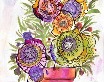 "Original_peinture pot_a flowers abstract alcohol ink and mix media 11 X 15 ""on yupo"